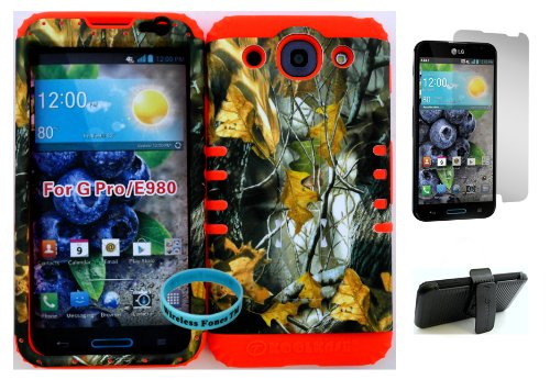 Wireless Fones Tm Lg Optimus G Pro E980 Dry Leaf Mossy Camo Hard Plastic Snap On + Orange Silicone Kickstand Cover Case Kickstand Holster Belt Clip, Wristband, And Screen Protector Included front-672697