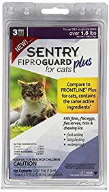 SENTRY Fiproguard Plus for Cats over 1.5lb 3ct Squeeze-On Kills Fleas Ticks Lice