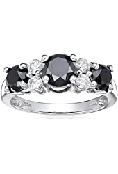 10k White Gold Black and White Diamond Ring (2 cttw)