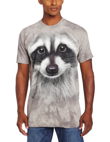 The Mountain Men's Raccoon Face T-Shirt, Gray, Large