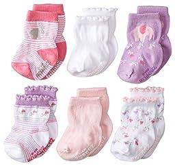 Robeez Baby-Girls Newborn 6 Pack Baby\'s Favorite Socks, Pastel Pink, 6-12 Months