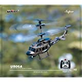 U806 Ultra Stable Mini 3.5 Channel Army Military Huey Indoor RC Helicopter with Built-in Gyro Gyroscope RTF