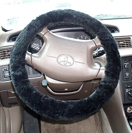New Sheepskin Fur Leather Steering Wheel Cover Black