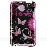 Premium Designer Hard Crystal Snap-on Case for Apple iPod Touch 2, 8GB, 32GB, 64GB – Cool Pink Butterfly Print