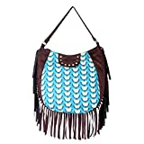 STYLOCUS Cotton and Suede Tassle Hobo