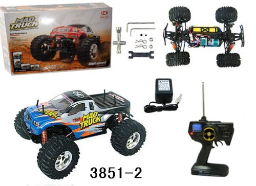 1:10 Rc Electric 4Wd Mad Truck (Color May Vary) R/C Car Radio Remote Control Vehicle Auto Automobile Jeep Mt12