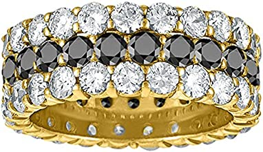 Black and White Diamonds Set In 10k Yellow Gold Double Shared Prong Eternity Ring276 ctw