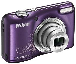 Nikon Coolpix L27 Digitalkamera  violett/Ornament(16 Megapixel, 5-fach opt. Zoom, 6,9 cm (2,7 Zoll) LCD-Monitor) Kit inkl. 4GB Speicherkarte und Kameratasche (schwarz)