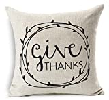 Personalized Give Thanks Thanksgiving Gifts Cotton Linen Throw Pillow Case Cushion Cover Home Office Living Room Sofa Car Decorative Square 18 X 18 Inches