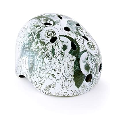 Kids Boys Children Bicycle Cycle Bike BMX Helmet 56 - 60 cm Graffiti Colour: White-Green from Relaxdays
