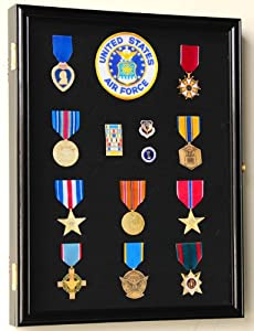 Military Medals, Pins, Patches, Insignia, Ribbons, Flag Display Case Cabinet, Black
