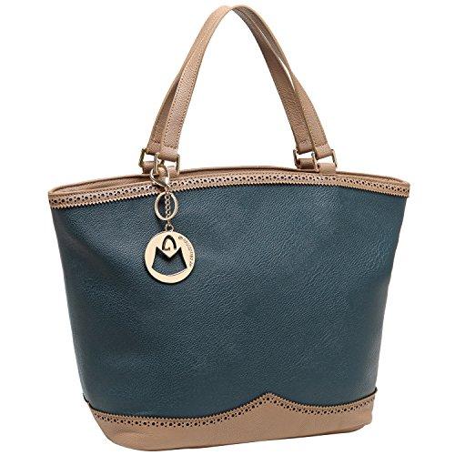 Mg Collection Renata Blue / Brown Oversized Shopper Tote Style Shoulder Handbag front-985459