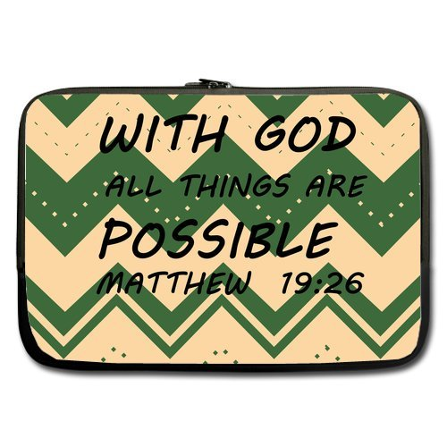 With God All Things Are Possible Bibble Quotes Chevron Pattern Durable Protective Laptop/Macbook Air/Macbook Pro Sleeve 11'' front-199306