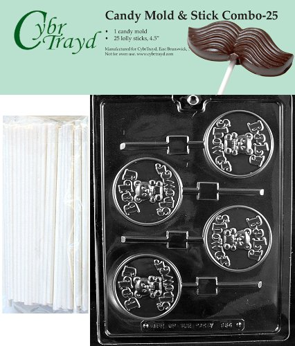 """Cybrtrayd 45St25-B054 Baby Shower Lolly Chocolate Candy Mold With 25 Cybrtrayd 4.5"""" Lollipop Sticks front-980993"""