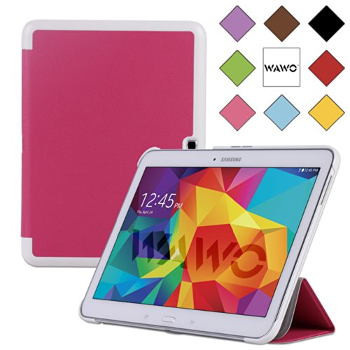 Wawo Samsung Galaxy Tab 4 10.1 Inch Tablet Smart Cover Creative Fold Case - Pink front-929525