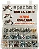 250pc Specbolt KTM SX EX EXC 2 or 4 Stroke models Bolt Kit for Maintenance & Restoration of MX Dirtbike OEM Spec Fastener. This includes 2 STROKES: 50 60 65 85 105 125 250 300 360 380 550 AND 4 STROKES: 250 350 400 450 500 520 525 530 620 640 by Specbolt