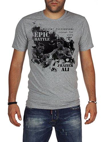 Palalula Uomo Boxe Muhammad Ali vs Joe Frazier T-Shirt L Grigio