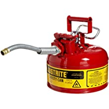 "Justrite AccuFlow 7210120 Type II Galvanized Steel Safety Can with 5/8"" Flexible Spout, 1 Gallon Capacity, Red"