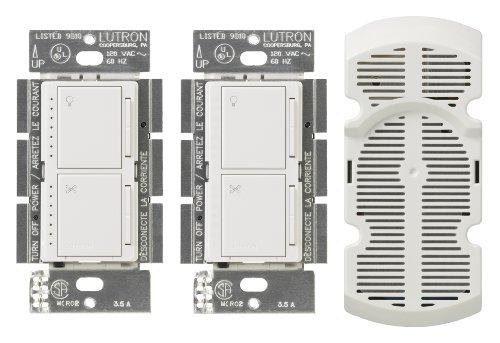 Lutron Ma-Lfq3-Sw Maestro 300-Watt Multi-Location Digital Dimmer 1.5 Amp Fan Control With Companion Dimmer/Fan Control And Canopy Module, Snow