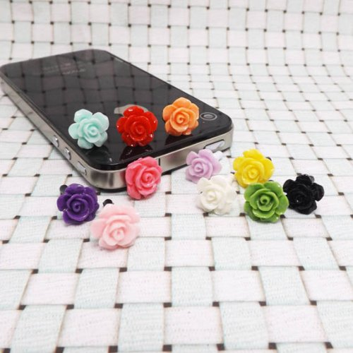 11 Colors Cute Sweet Romantic Sweet Little Rose Flower Anti Dust Plug 3.5Mm Smart Phone Dust Stopper Headphone Jack Earphone Cap Dustproof Plug Charm Iphones, Samsung, Blackberry Series (11Pcs With 11 Colors)