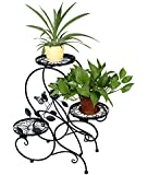 "HLC 3-tier Classic Plant Stand with Modern ""S"" Design (Black)"