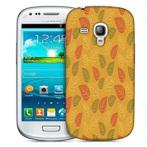 Snoogg Red And Green Leaves Yellow Pattern Designer Protective Phone Back Case Cover For Samsung Galaxy S3 Mini