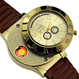 Rechargeable USB Lighter Watches Clock Electronic Men Casual Quartz Wristwatches Highend Gift Box Windproof Cigarette Lighter (Gold) (Color: Gold)