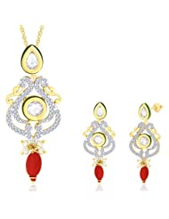 "Peora 18 Karat Gold Plated Kundan ""Ruchira"" Pendant Earrings Set With Free Chain PS155GJ"