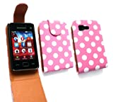 Emartbuy® Value Pack For Samsung S5220 Tocco Lite 2 Premium PU Leather Flip Case/Cover/Pouch Polka Dots Pink / White + Compatible Micro USB Car Charger + LCD Screen Protector