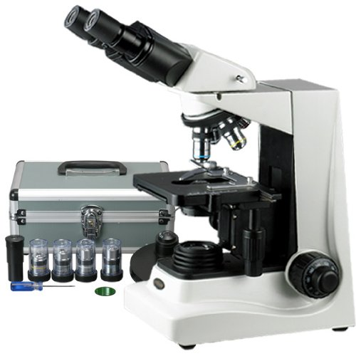 Amscope B600A-Pct Siedentopf Binocular Compound Microscope, 40X-1600X Brightfield Magnification, 100X-1600X Turret-Mounted Phase Contrast Magnification, Halogen Illumination, Abbe Condenser, Double-Layer Mechanical Stage, Anti-Mold