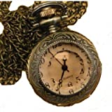 Vintage Style Crystal Like Glass Cover Watch Pendant Clock With 15 Chain In Antique Gold Finish""