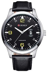 Carlien New Fashion Men'S Watch Casual Wristwatch Leather Quartz Watch Calendar