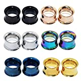Longbeauty 6 Pair Stainless Steel Screwe Flesh Tunnel Expander Eer Plug Gauge Earlets 6 Colors 8MM