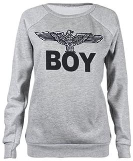 Forever Womens Dope Geek Brookleyn Boy Eagle Print Fleece Sweatshirt (SM-6/8, Boy Grey)
