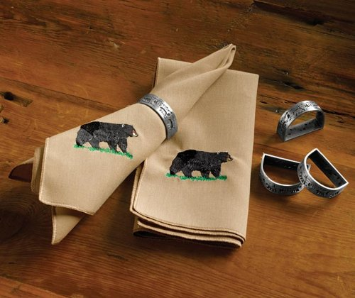 Black Bear Embroidered Napkins And Napkin Rings / Only Napkin Rings