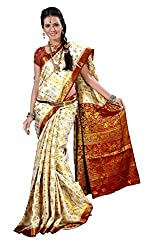 Alankrita Half White X Meroon Color Allover Weaving Jari Design Saree