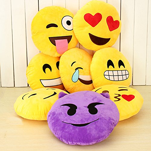 For Sale! Emoji Smiley Emoticon Yellow Round Cushion Pillow Soft Toy