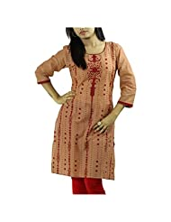 Fashion Freaks Red Cotton Printed Sqaure Neck Kurti - B00R7O8I9W