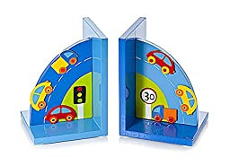 Blue Wooden Car Themed Bookends for Boys Bedroom or Nursery