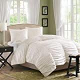 Home Essence Cambria 3-Piece Duvet Mini Set, Queen, White