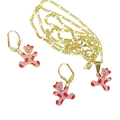 Gold Overlay Pink Teddy Bears With Bows And Daisies Three Piece Set Necklace With Pendant And Earrings