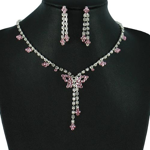 Silver 16 Inch Rose Rhinestone Butterfly Y Design Necklace Set
