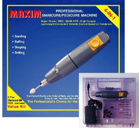 NEW - MAXIM Pro Nail Drill, for Gels, Acrylics, Natural nails, 110-240V w/ Pro Attachments.Complete w/tool box
