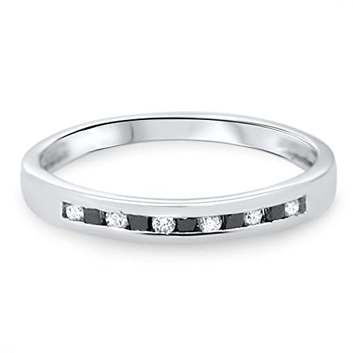 0.20ct Black Princess & White Diamonds Half Eternity Wedding Ring,9k White Gold