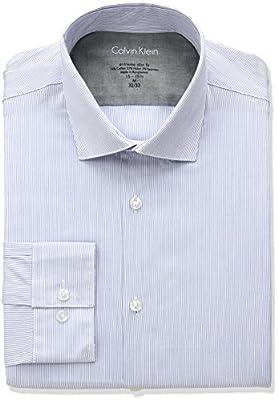 Calvin Klein Men's Stretch Xtreme Slim Fit Stripe Spread Collar Dress Shirt