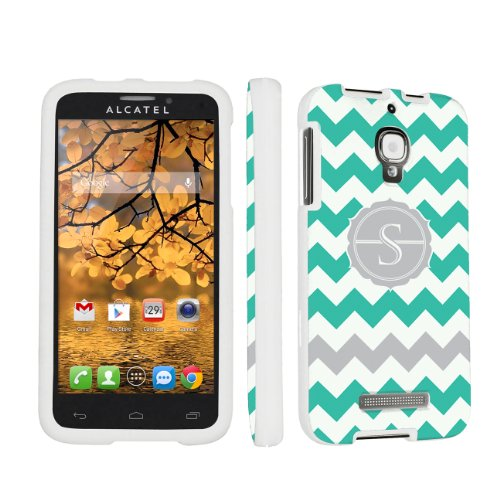 Skinguardz Designer White Hard Case For Alcatel One Touch Fierce 7024W - Mint Chevron Monogram Initial S front-550715