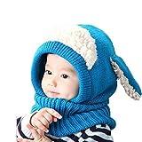 Oyedens Oyedens Fotografia Bebes Newborn Photography Props El Bebé Del Invierno Para NiñOs Muchachos De Las NiñAs Woolen Cofia De La Capilla De La Bufanda Capsula Los Sombreros (talla única, Azul)