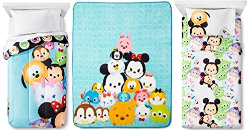 Disney Tsum Tsum Twin Bedding Set with Reversible Comforter, 3-Pc Sheet Set, Plush Throw