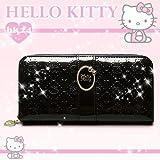 キティ 財布 (ウォレット・長財布) ラウンド束入 「Kittyロゴ/リボン付Gブローチ」 ブラック ハローキティ サイフ