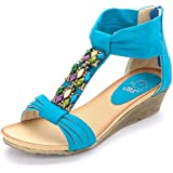 Alexis Leroy Womens Shoes Wedge Heel Bright Color Tibet Style Summer Sandals
